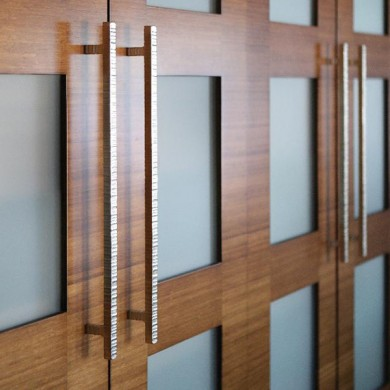 Custom bamboo doors with opaque glass