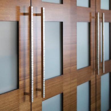 Custom bamboo doors with opaque glass