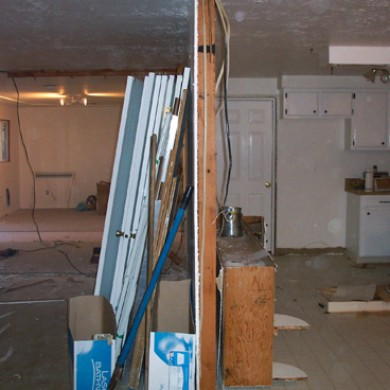 Image of a laundry in process of tear down for a remodel