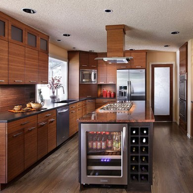 Custom kitchen with bamboo cabinets by Patti Marvitz