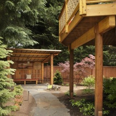 image of Japenese style garden gazebo with slate path, Patti Marvitz