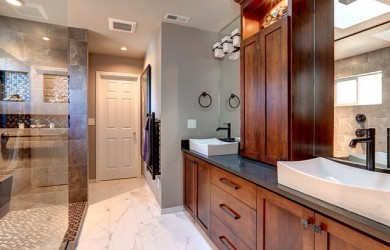 Image of a bathroom after remodeling by Patti Marvitz